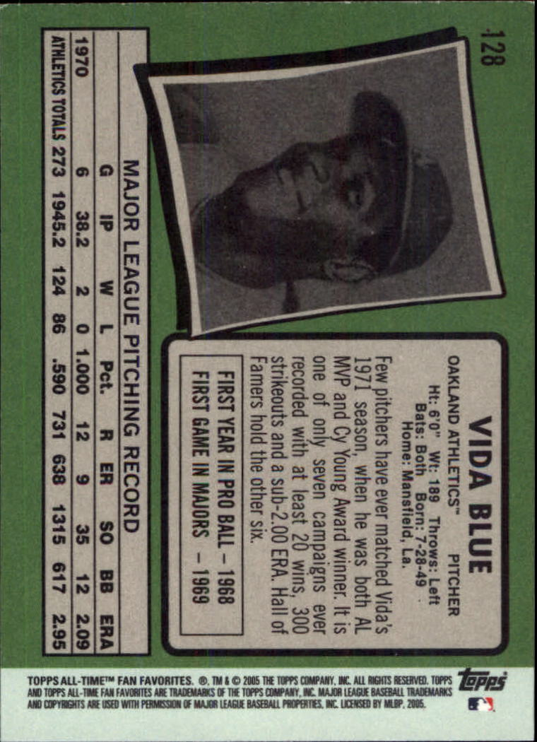 2005 Topps All-Time Fan Favorites #128 Vida Blue back image