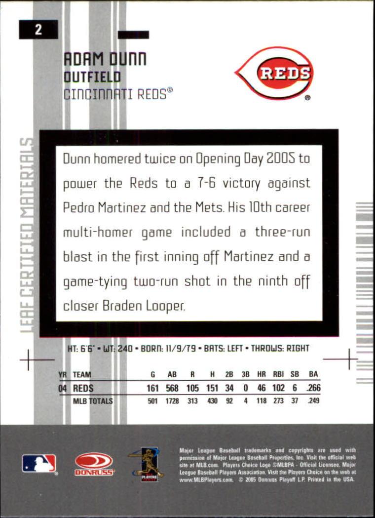 2005 Leaf Certified Materials #2 Adam Dunn back image