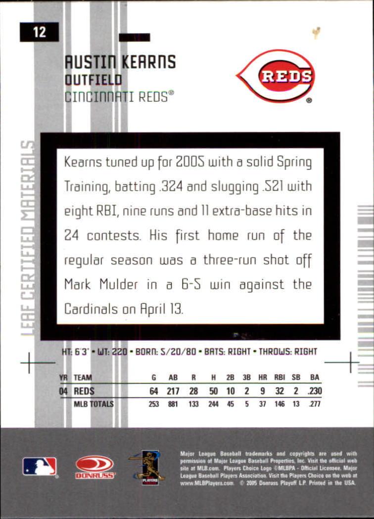 2005 Leaf Certified Materials #12 Austin Kearns back image