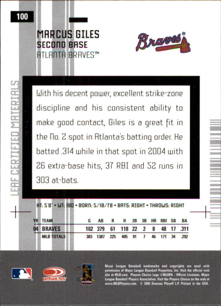2005 Leaf Certified Materials #100 Marcus Giles back image