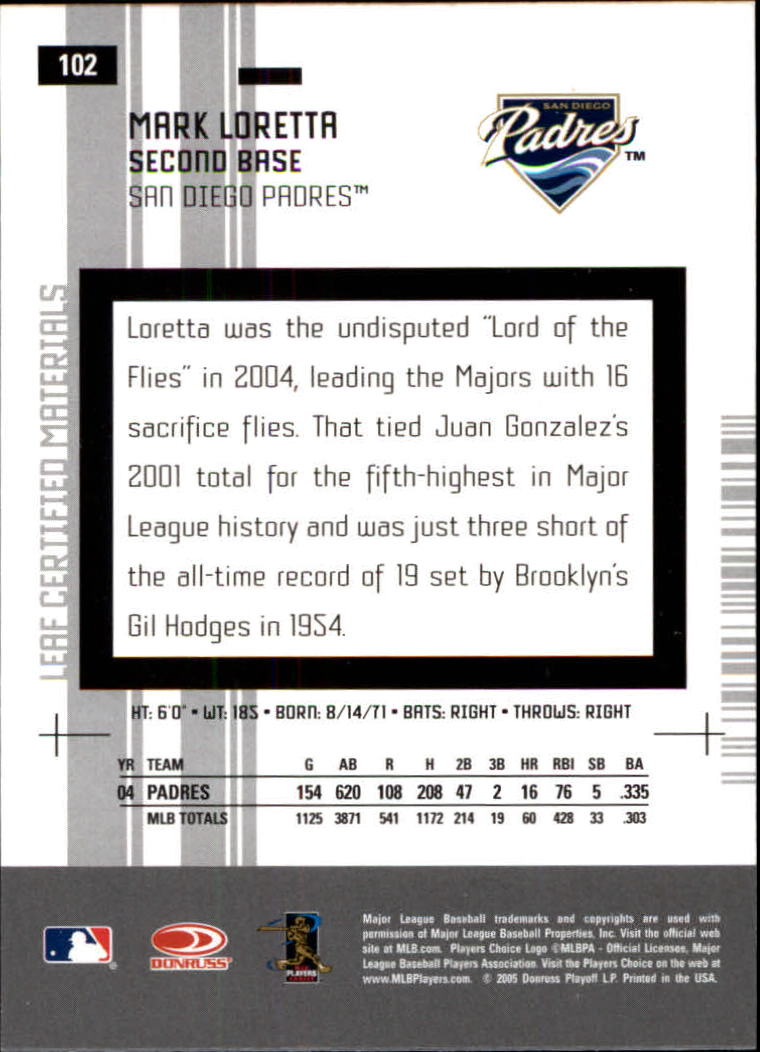 2005 Leaf Certified Materials #102 Mark Loretta back image