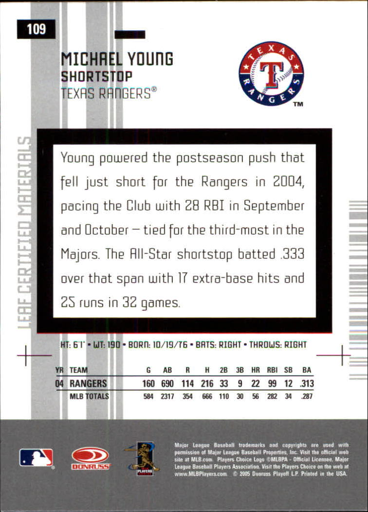 2005 Leaf Certified Materials #109 Michael Young back image