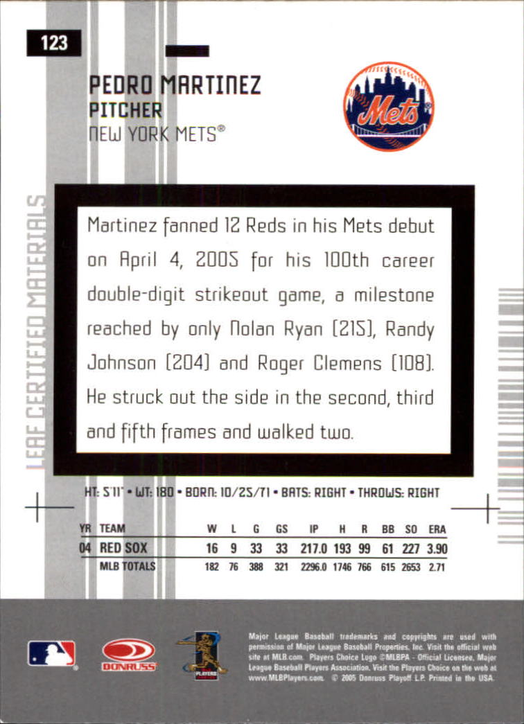 2005 Leaf Certified Materials #123 Pedro Martinez Mets back image