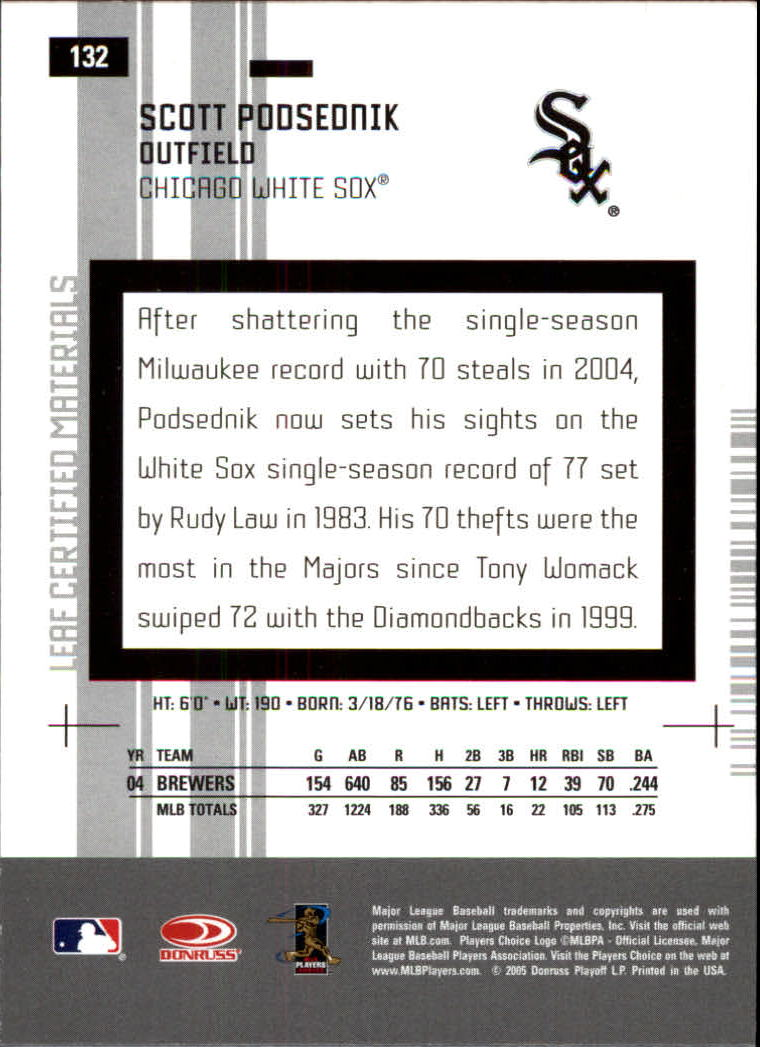 2005 Leaf Certified Materials #132 Scott Podsednik back image