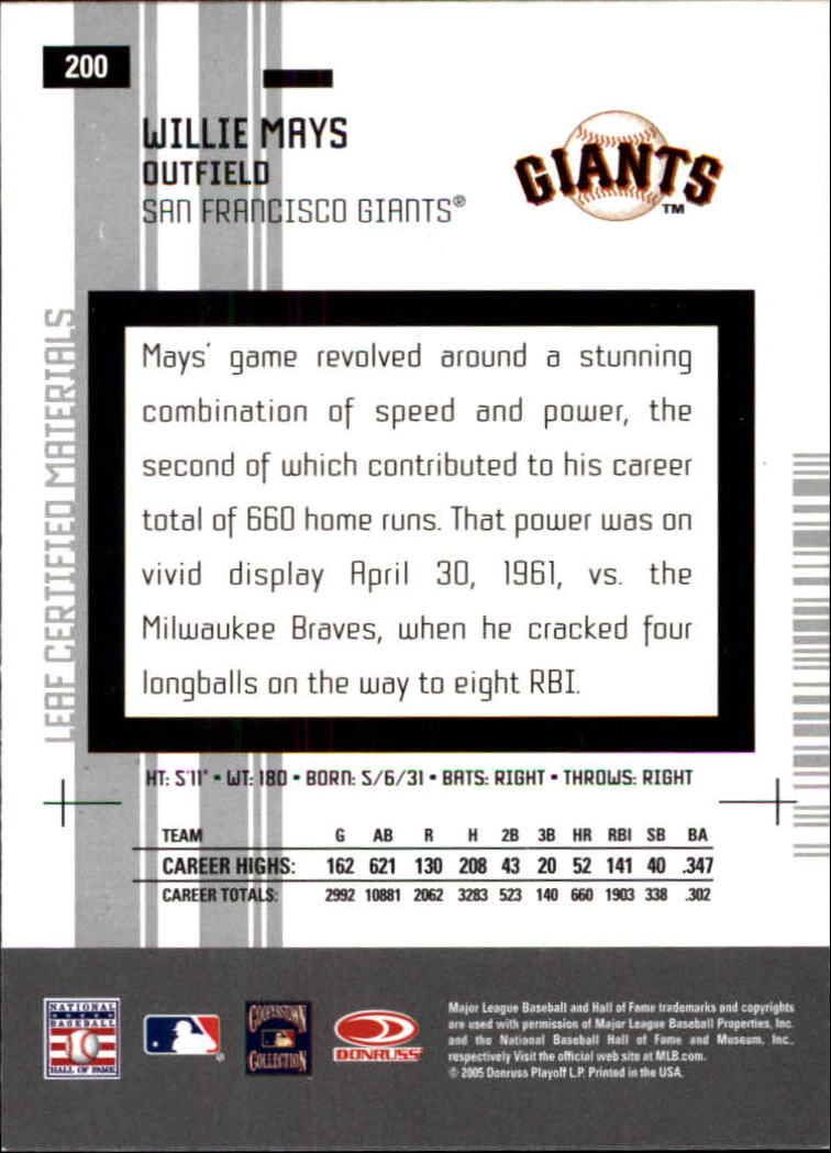 2005 Leaf Certified Materials #200 Willie Mays LGD back image
