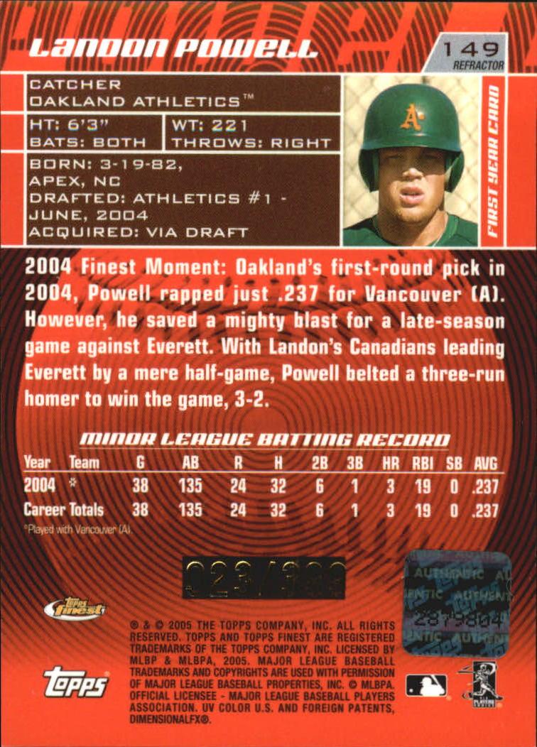 2005 Finest Refractors #149 Landon Powell AU back image