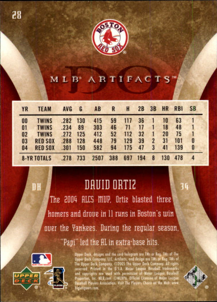 2005 Artifacts #28 David Ortiz back image