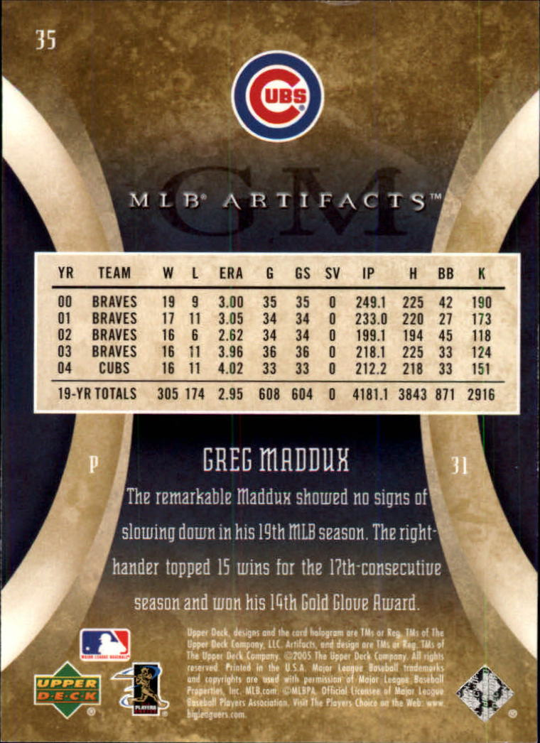 2005 Artifacts #35 Greg Maddux back image