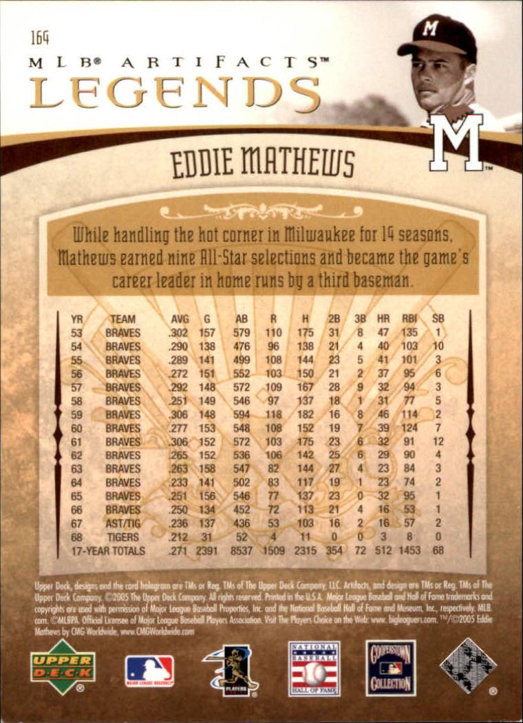 2005 Artifacts #164 Eddie Mathews LGD back image