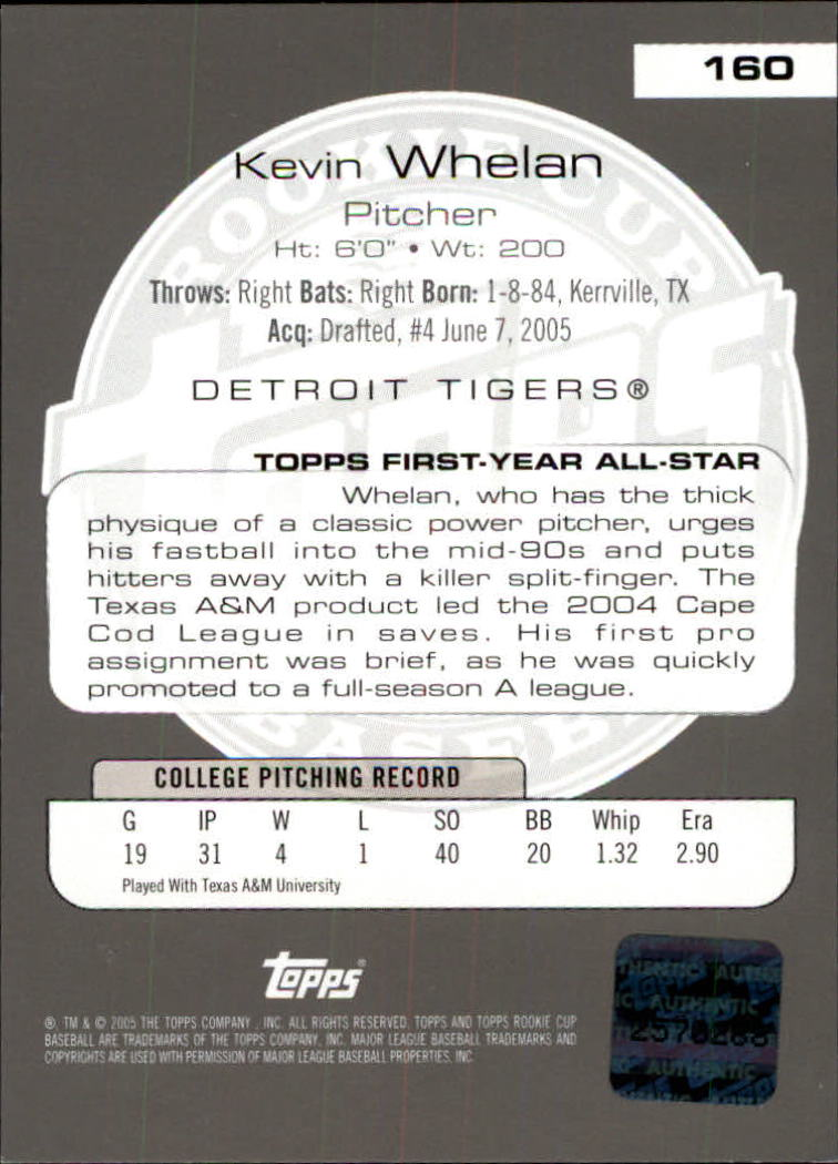 2005 Topps Rookie Cup #160 Kevin Whelan AU RC back image