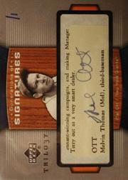 2005 Upper Deck Trilogy Generations Cut Dual Autograph #OCC Mel Ott/Orlando Cepeda/Will Clark