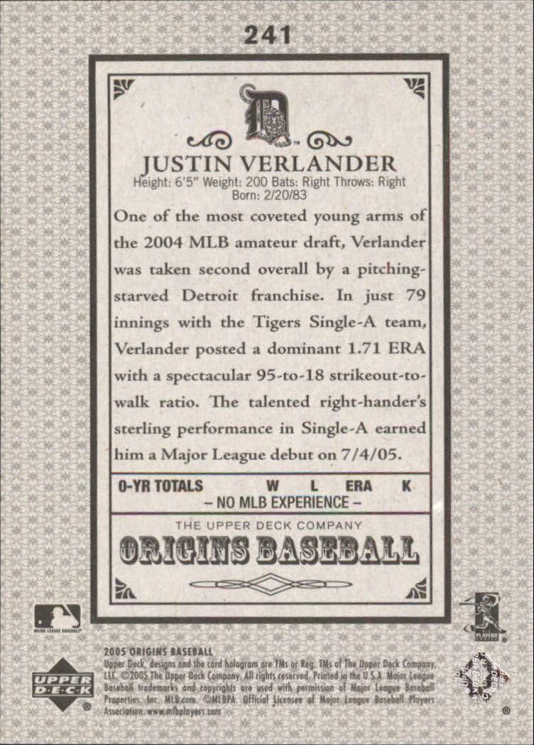 2005 Origins Old Judge #241 Justin Verlander YS RC back image