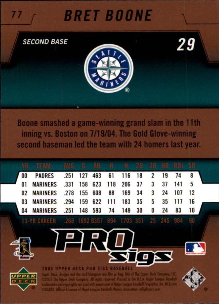 2005 Upper Deck Pro Sigs #77 Bret Boone back image