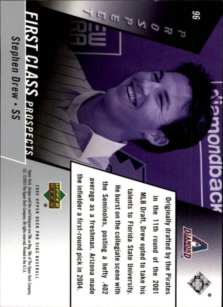 2005 Upper Deck Pro Sigs #96 Stephen Drew FC RC back image