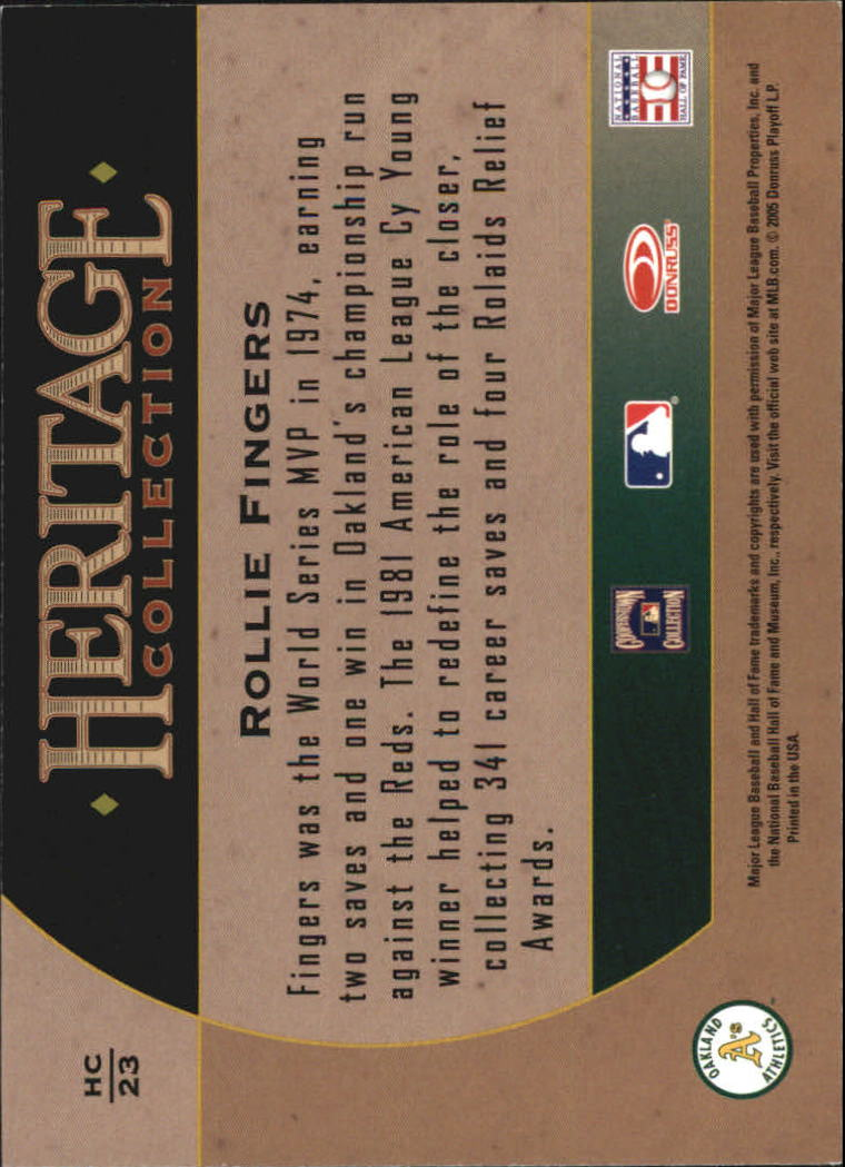 2005 Diamond Kings Heritage Collection #HC23 Rollie Fingers back image