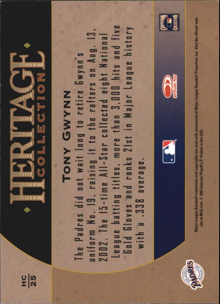 2005 Diamond Kings Heritage Collection #HC25 Tony Gwynn back image