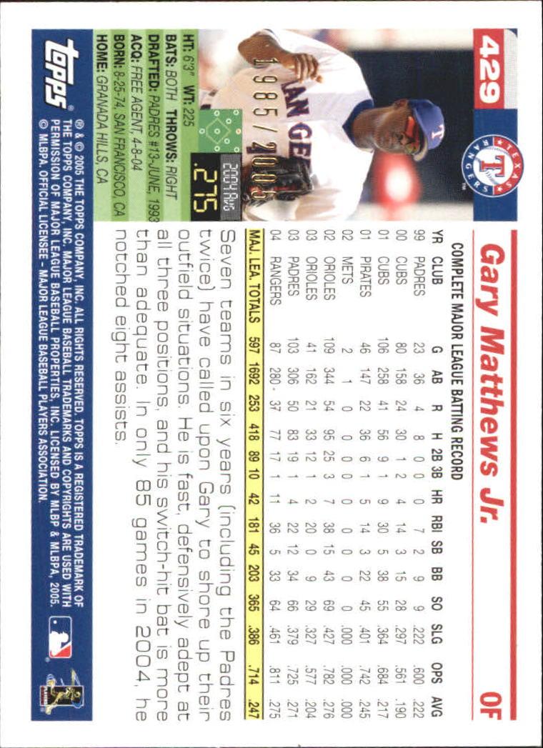 2005 Topps Gold #429 Gary Matthews Jr. back image