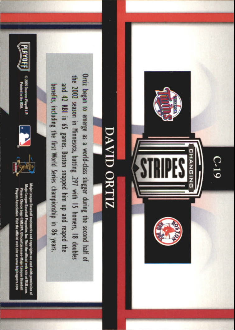 2005 Playoff Prestige Changing Stripes #19 David Ortiz Twins-Sox back image