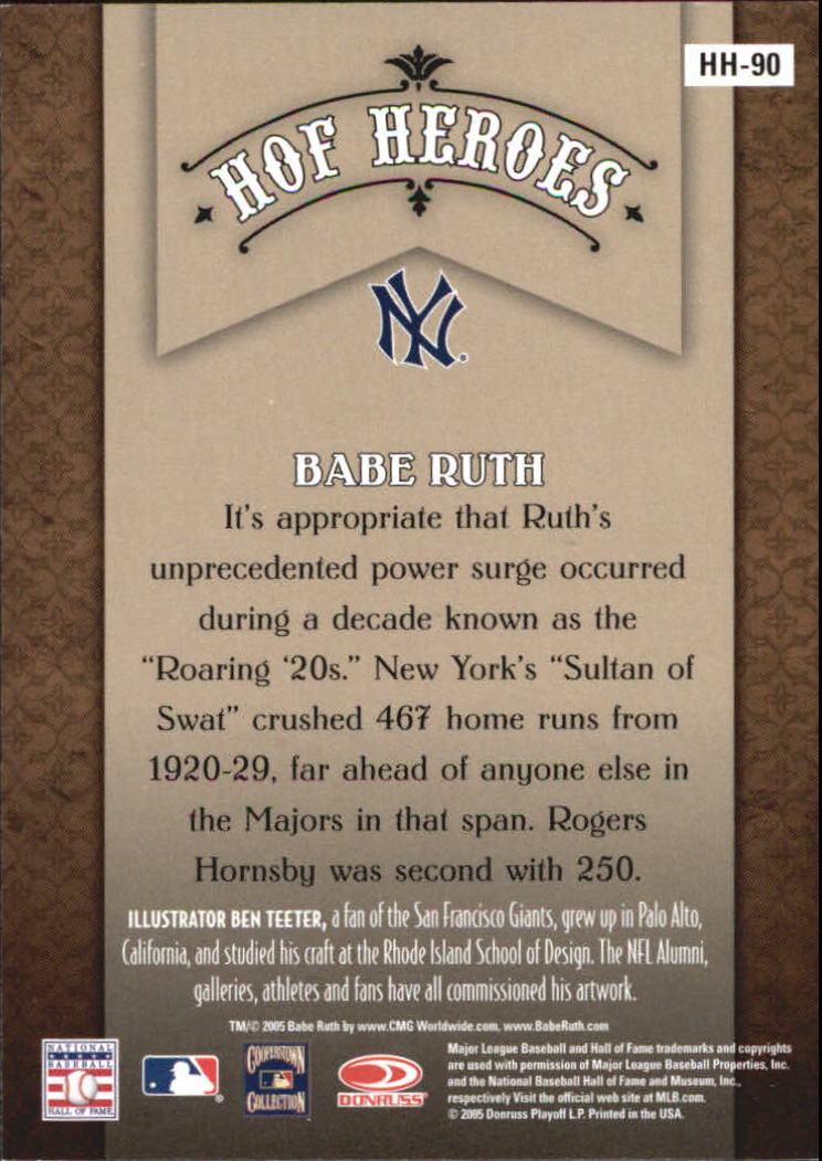 2005 Diamond Kings HOF Heroes #90 Babe Ruth back image
