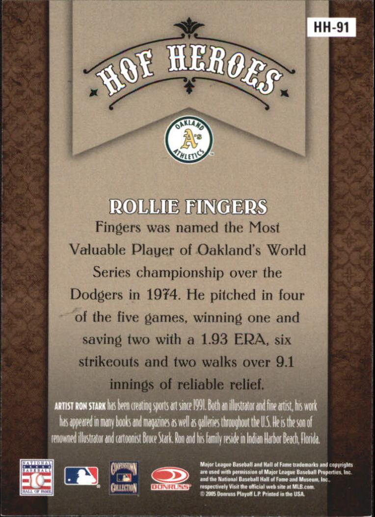 2005 Diamond Kings HOF Heroes #HH91 Rollie Fingers back image