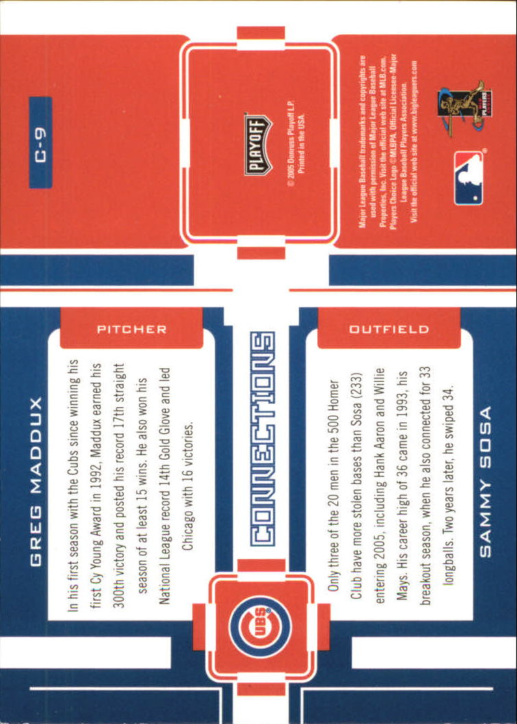 2005 Playoff Prestige Connections #9 G.Maddux/S.Sosa back image