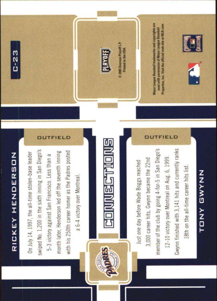 2005 Playoff Prestige Connections #23 R.Henderson/T.Gwynn back image