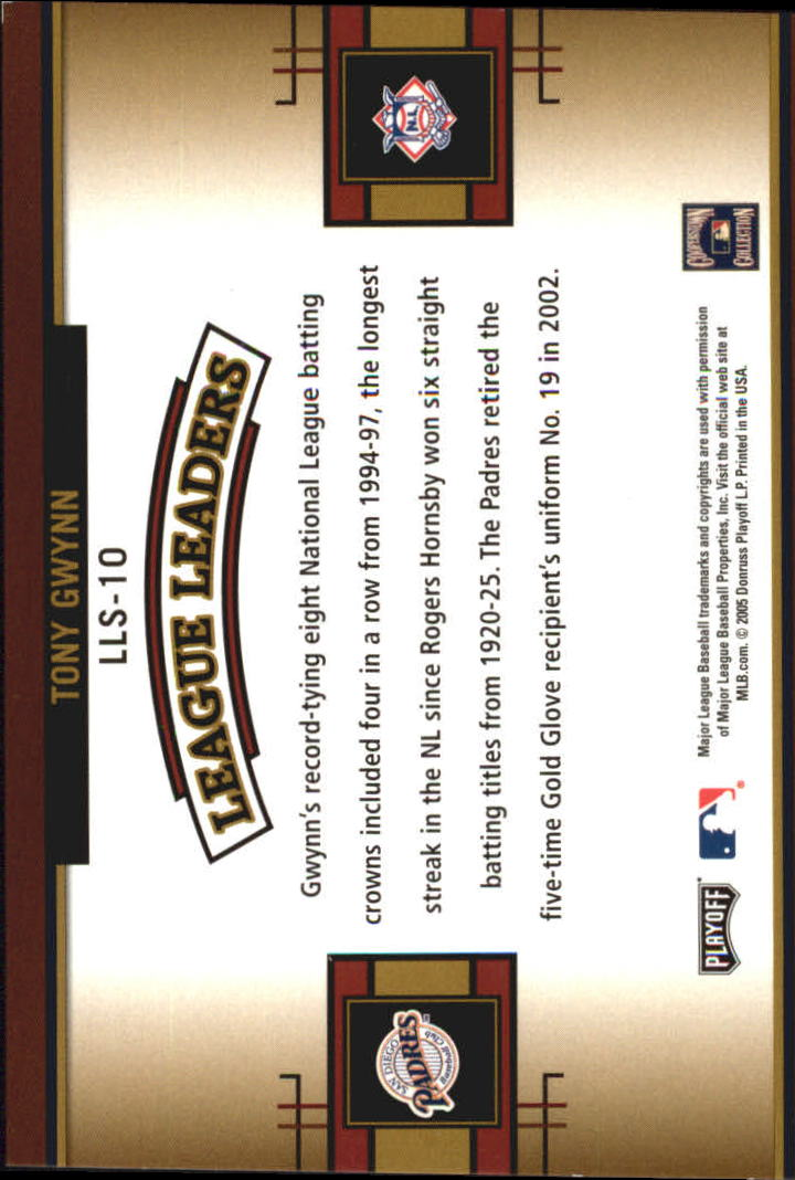 2005 Playoff Prestige League Leaders Single #10 Tony Gwynn back image