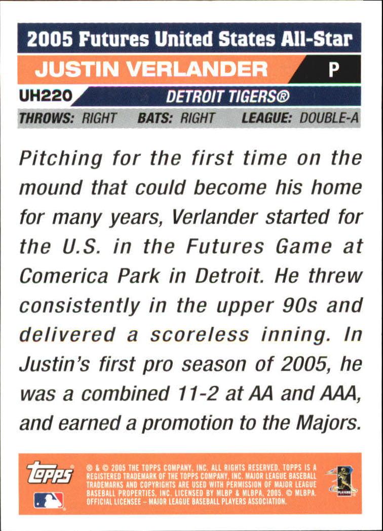 2005 Topps Update #220 Justin Verlander FUT back image