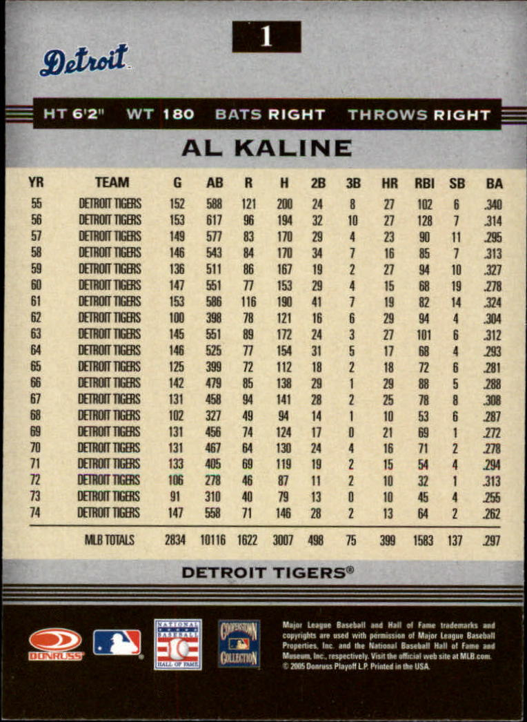 2005 Donruss Greats #1 Al Kaline back image