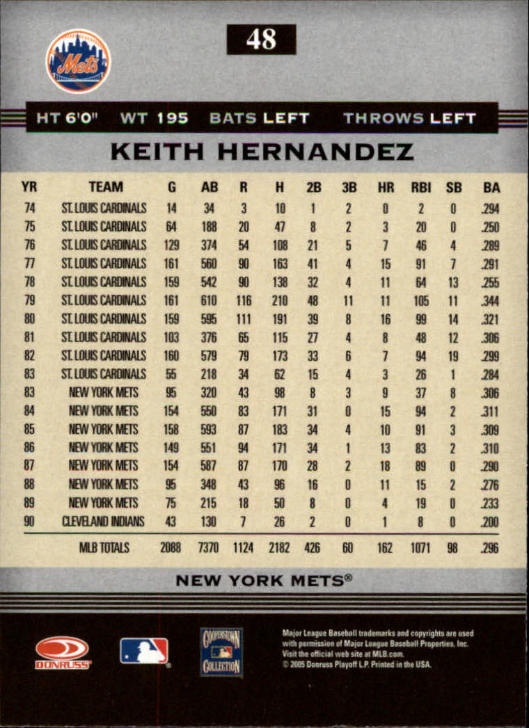 2005 Donruss Greats #48 Keith Hernandez back image