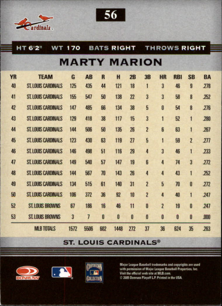 2005 Donruss Greats #56 Marty Marion back image