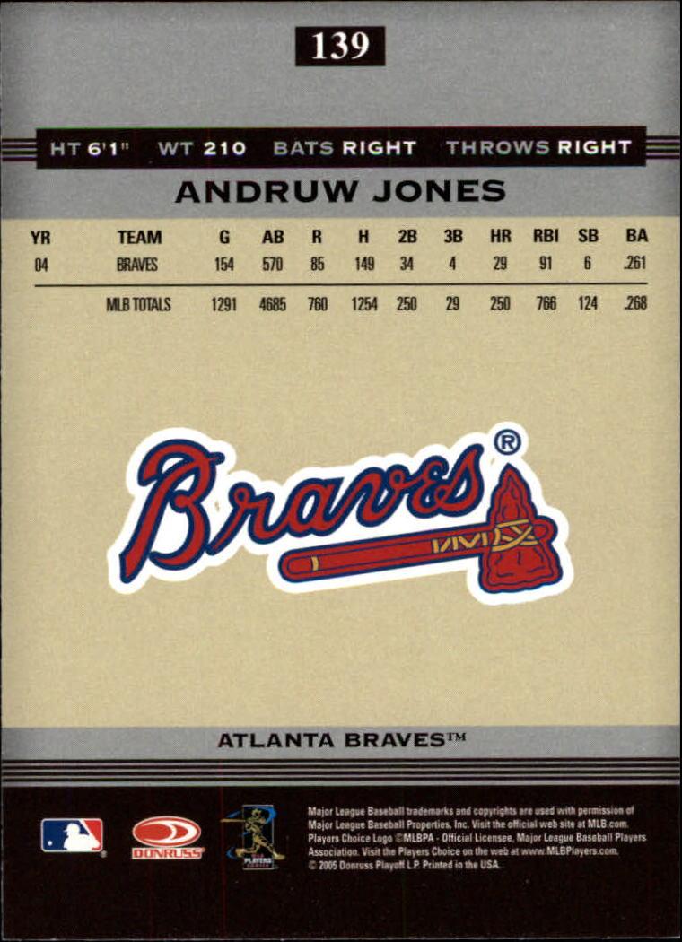 2005 Donruss Greats #139 Andruw Jones back image