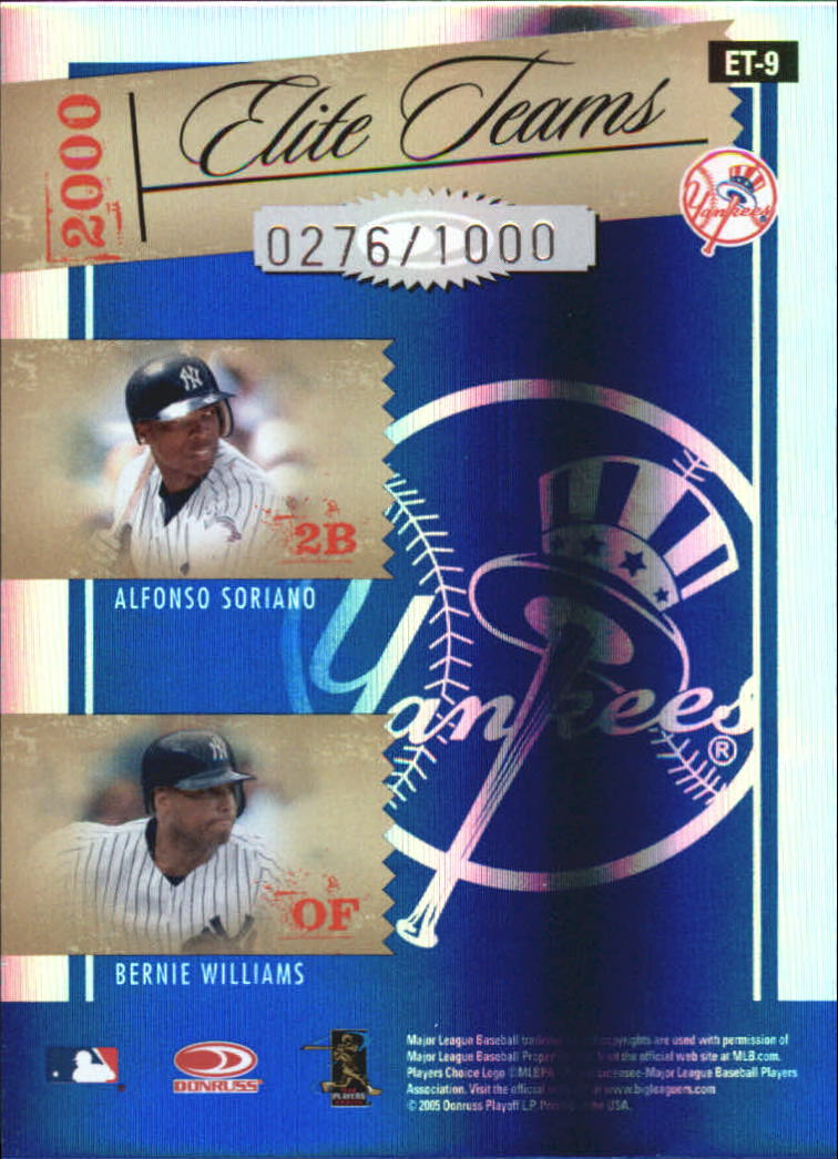 2005 Donruss Elite Teams Blue #9 Clem/Muss/Sor/Bernie back image