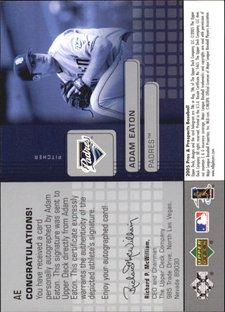 2005 Upper Deck Pros and Prospects Signs of Stardom #AE Adam Eaton T1 back image