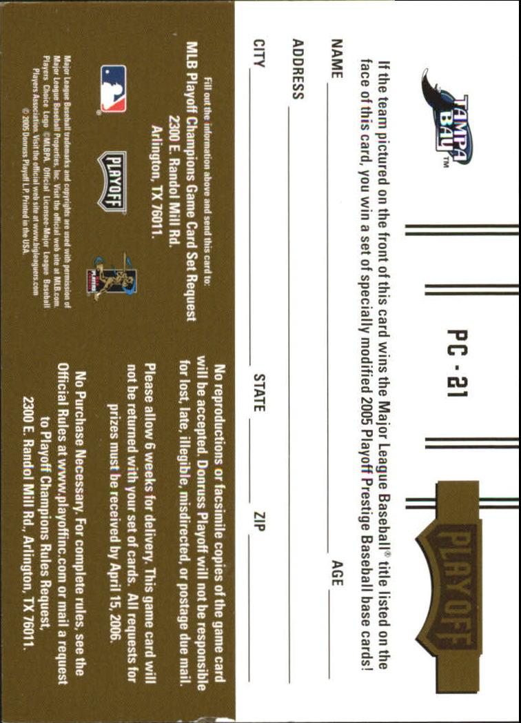 2005 Playoff Prestige Playoff Champions Combos World Series #21 B.J. Upton/Scott Kazmir/Carl Crawford back image