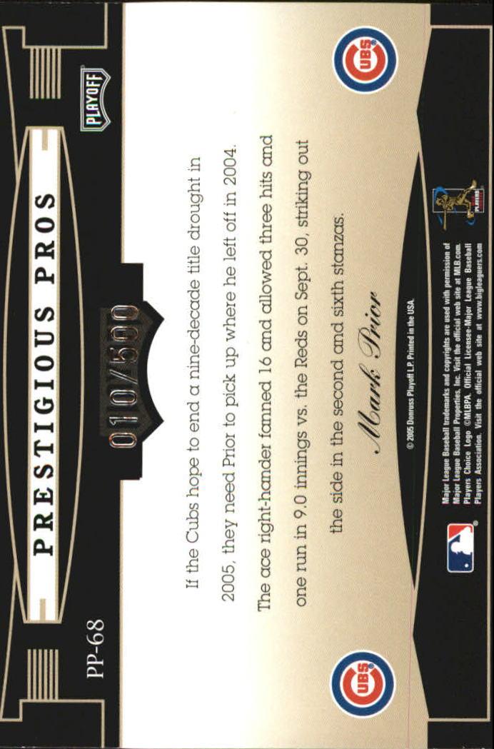 2005 Playoff Prestige Prestigious Pros Orange #68 Mark Prior back image