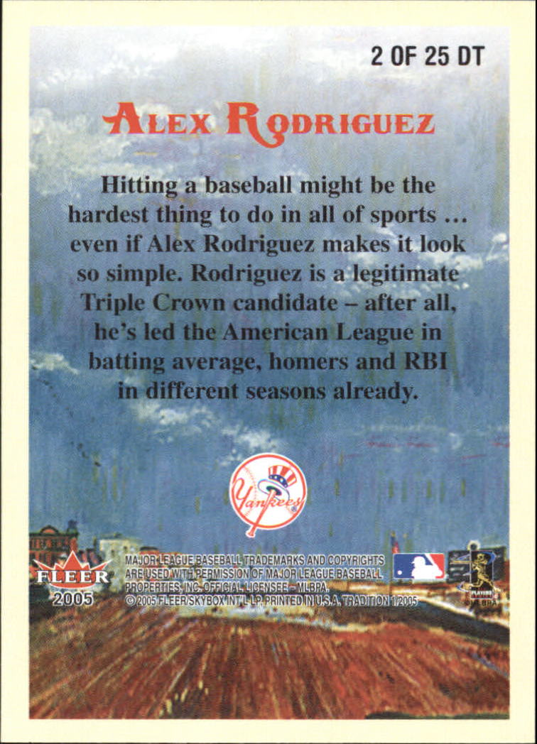 2005 Fleer Tradition Diamond Tributes #2 Alex Rodriguez back image