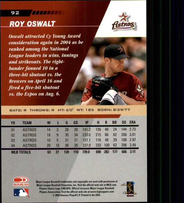 2005 Leaf #92 Roy Oswalt back image