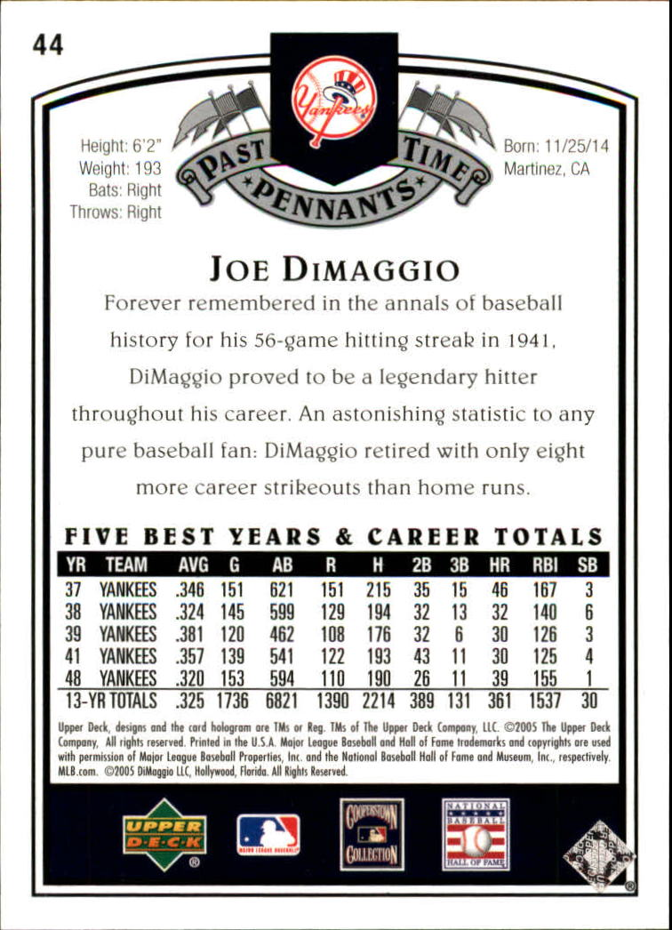 2005 UD Past Time Pennants #44 Joe DiMaggio back image