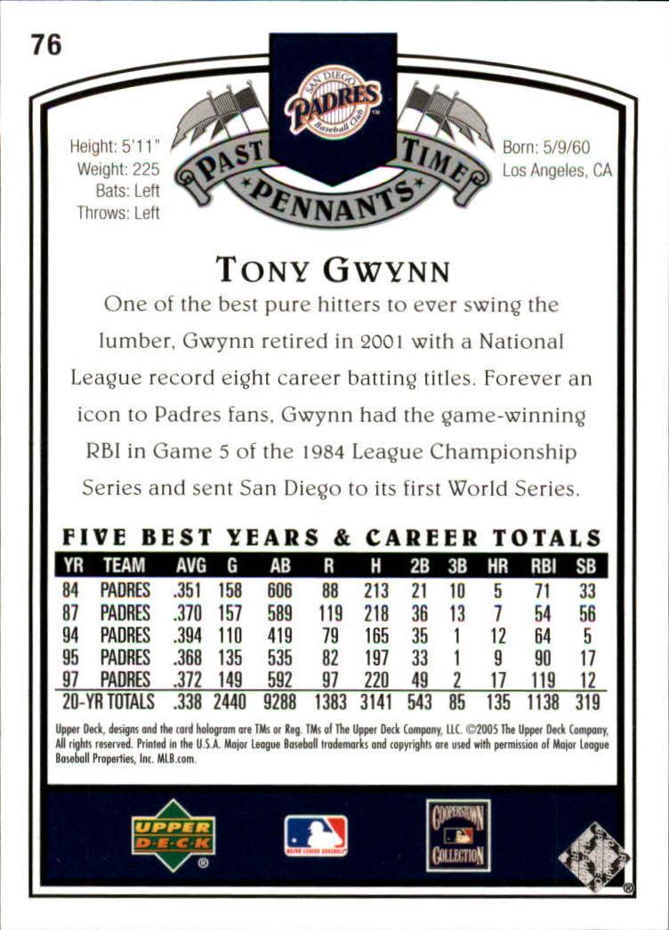 2005 UD Past Time Pennants #76 Tony Gwynn back image