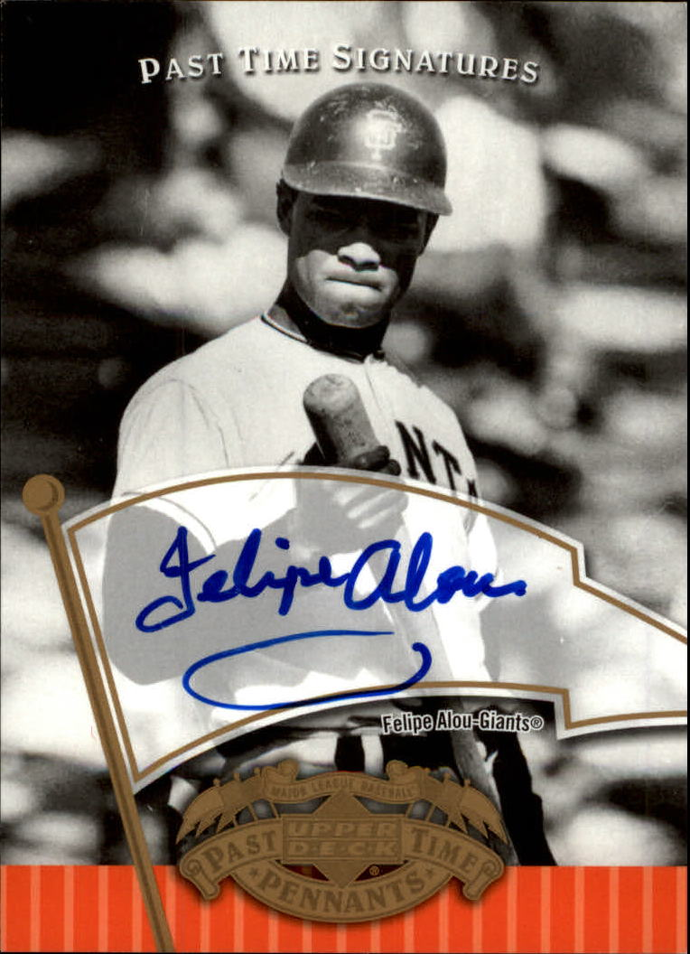 2005 UD Past Time Pennants Signatures Gold #FA Felipe Alou T3