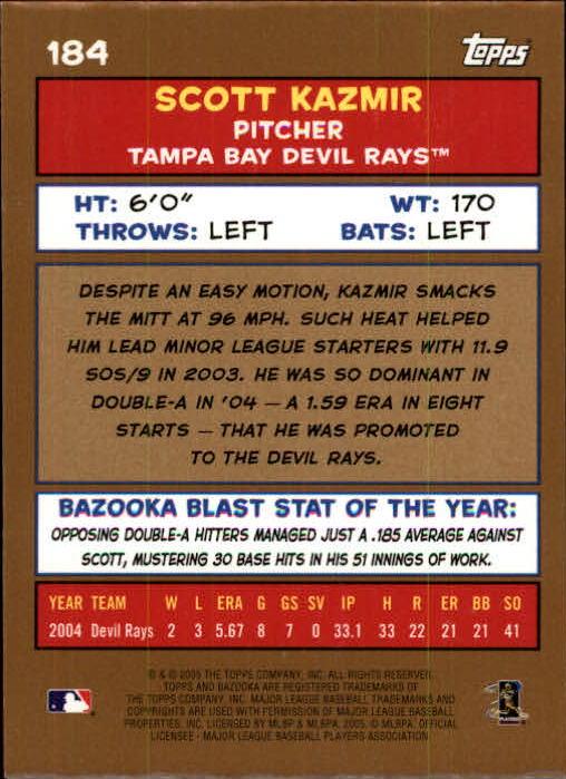 2005 Bazooka Gold Chunks #184 Scott Kazmir PROS back image