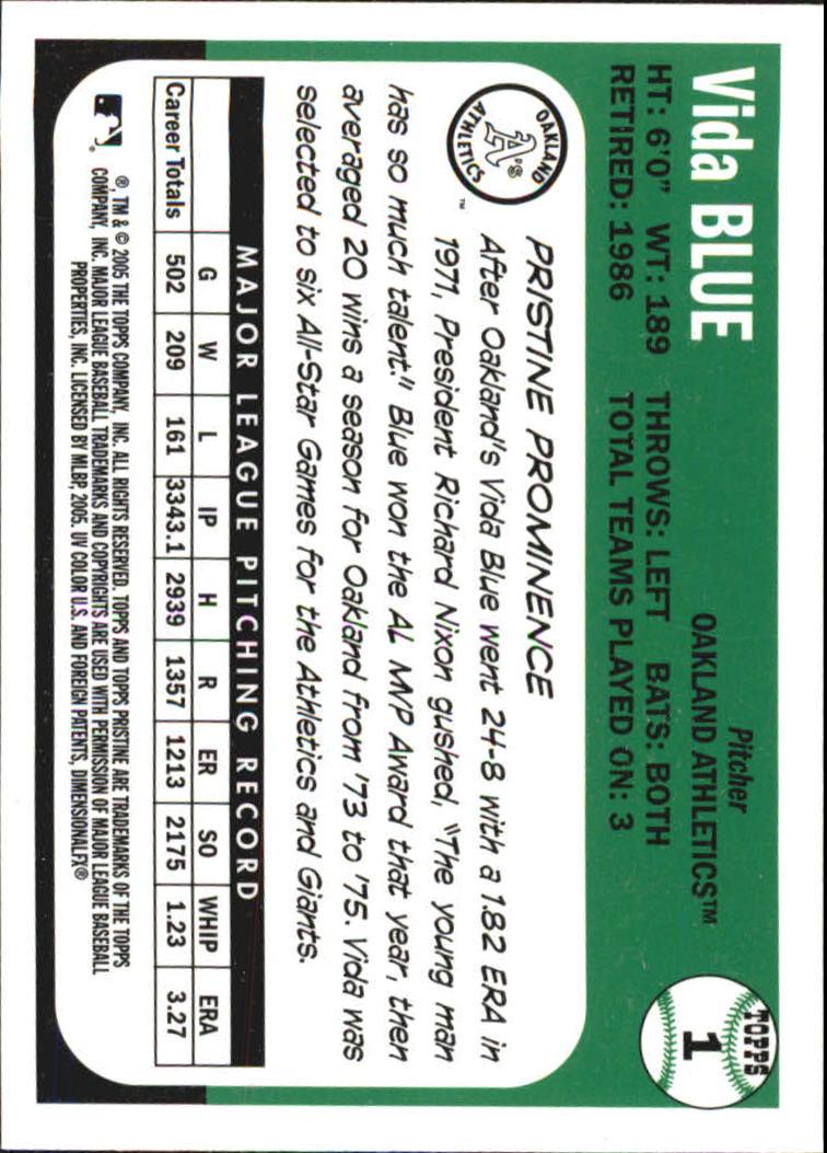 2005 Topps Pristine Legends #1 Vida Blue C back image