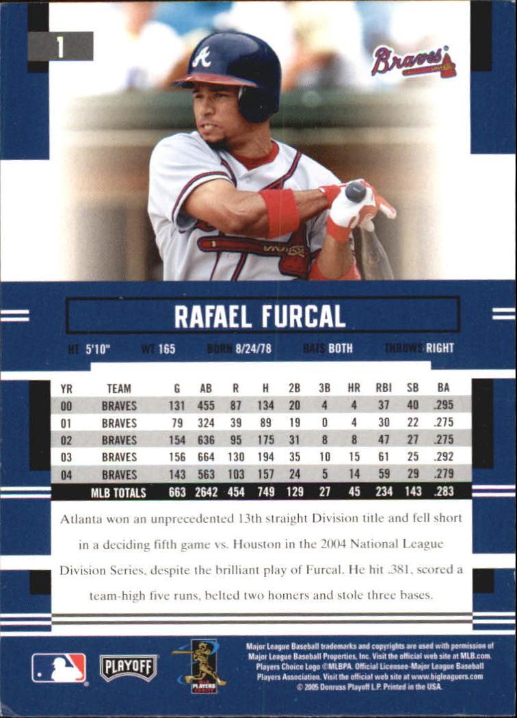 2005 Playoff Prestige #1 Rafael Furcal back image