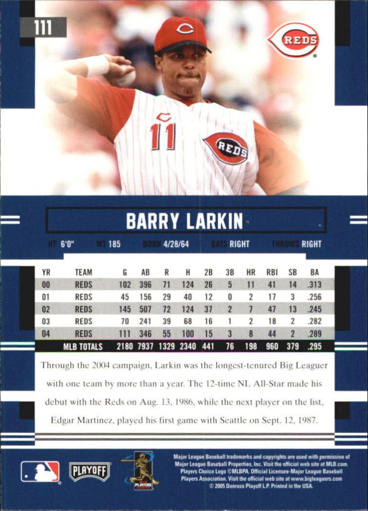2005 Playoff Prestige #111 Barry Larkin back image