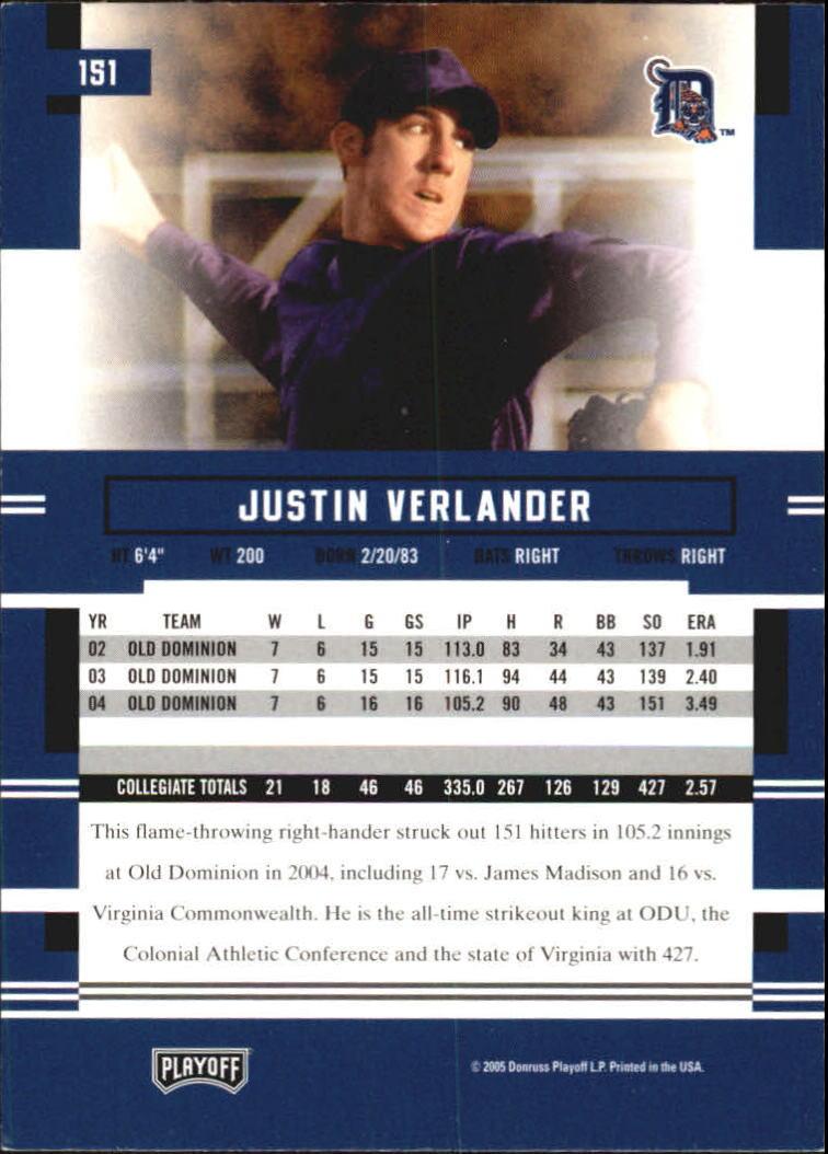 2005 Playoff Prestige #151 Justin Verlander RC back image
