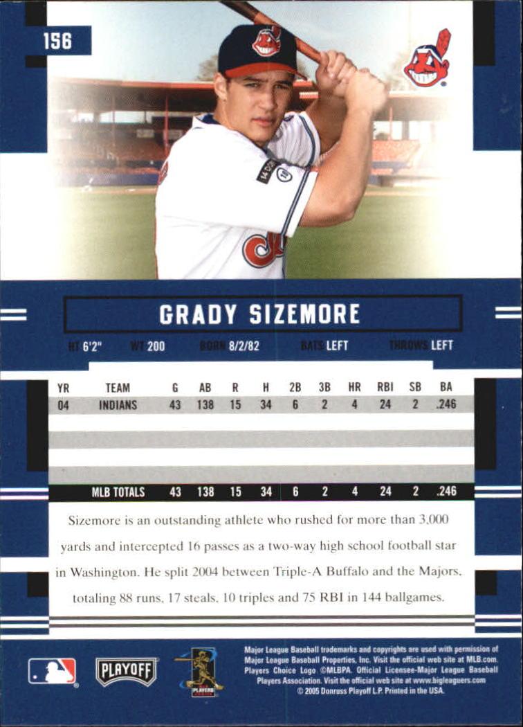 2005 Playoff Prestige #156 Grady Sizemore back image
