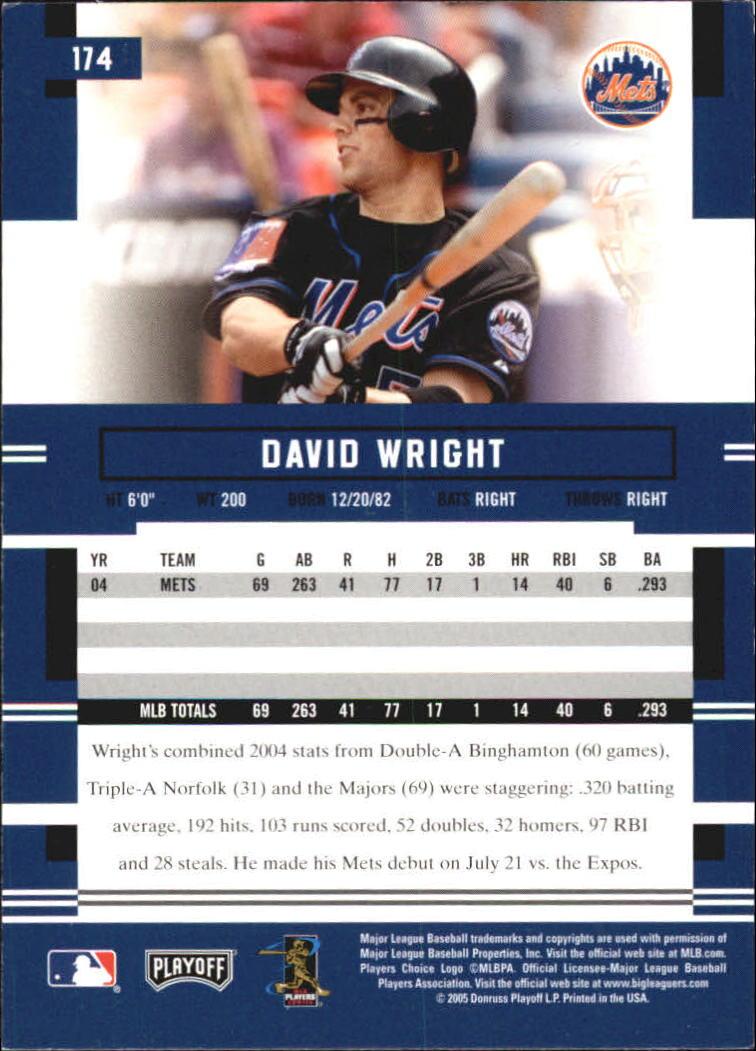 2005 Playoff Prestige #174 David Wright back image
