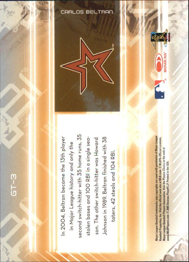 2005 Leaf Certified Materials Gold Team #3 Carlos Beltran Astros back image