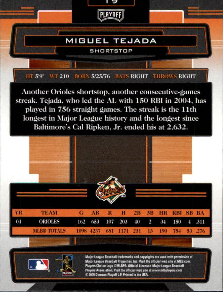 2005 Absolute Memorabilia #19 Miguel Tejada back image